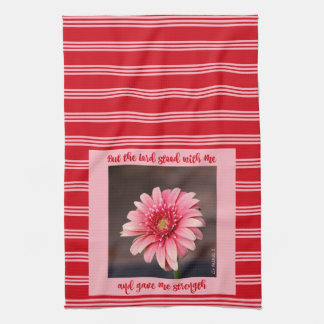 Pink Daisy w/ Scripture Verse on Stripes Kitchen Towel