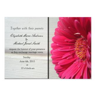 "Pink Daisy Wedding Invitation 5"" X 7"" Invitation Card"