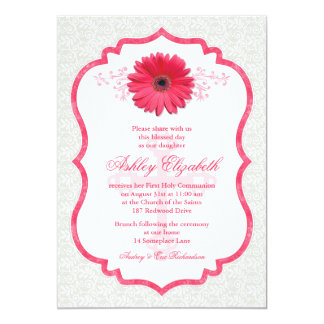 Pink Daisy White Lace First Communion Invitation