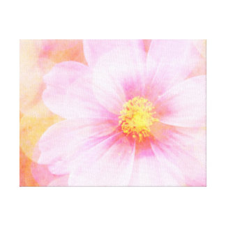 Pink Daisy with Bokeh Wrapped Canvas