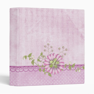 Pink daisy with pearls 3 ring binder