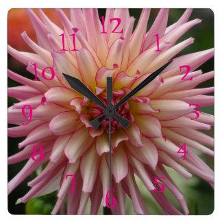 Pink Dalia Flower Square Wall Clock