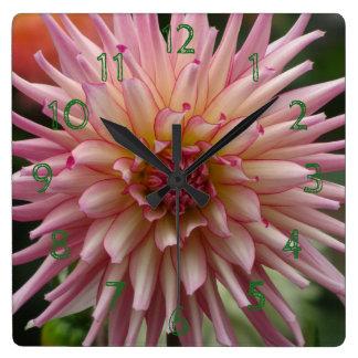 Pink Dalia Yellow Flower Square Wall Clock