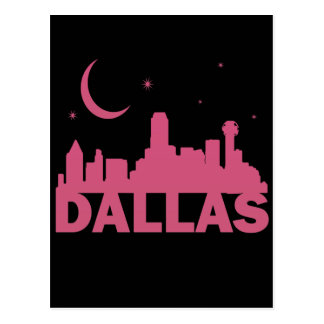 PINK DALLAS SKYLINE WITH MOON & STARS POST CARDS