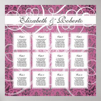 Pink Damask 12 Table Wedding Seating Plan Chart Poster