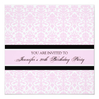 Pink Damask 20th Birthday Party Invitations