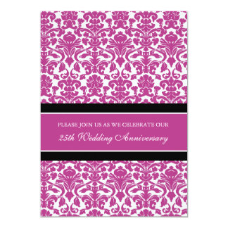 Pink Damask 25th Anniversary Party Invitation