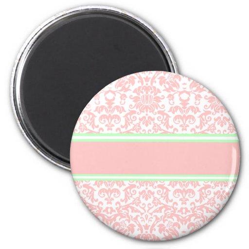 Pink Damask 2 Inch Round Magnet
