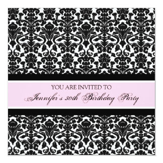 Pink Damask 30th Birthday Party Invitations