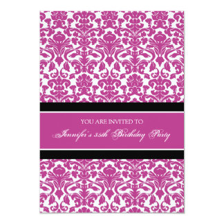 Pink Damask 35th Birthday Party Invitations