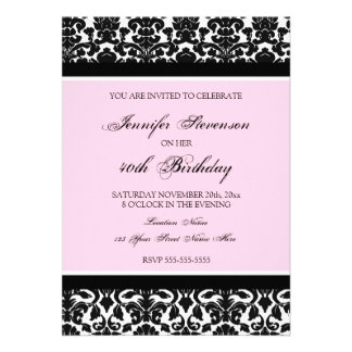 Pink Damask 40th Birthday Party Invitations