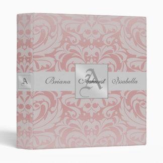 Pink Damask A Monogrammed Baby Album Binder