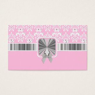 Pink damask and bow business card
