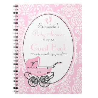 Pink Damask and Carriage Baby Shower Guest Book- Spiral Notebook