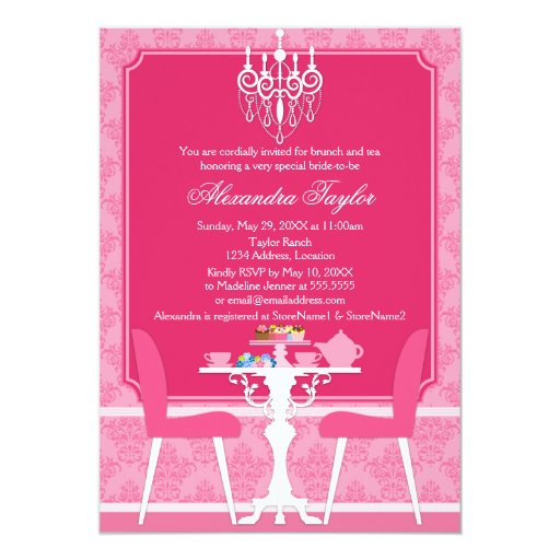 """Pink Damask and Chandelier Bridal Tea Party 5"""" X 7"""" Invitation Card"""