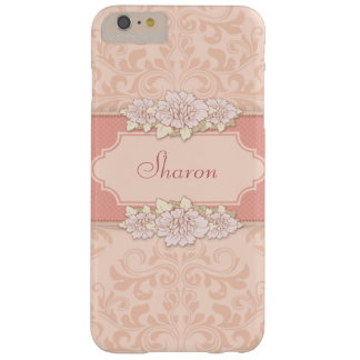 Pink Damask and Engraved Floral Personalized Barely There iPhone 6 Plus Case
