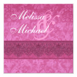 """Pink Damask and Lace Wedding Template 5.25"""" Square Invitation Card"""