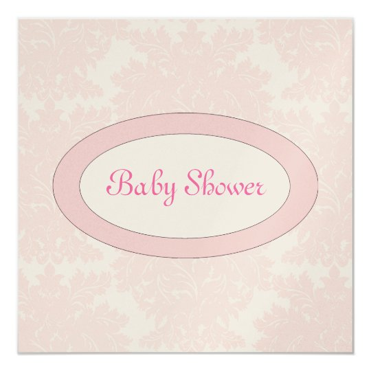 Pink Damask and Oval Name Plate Card