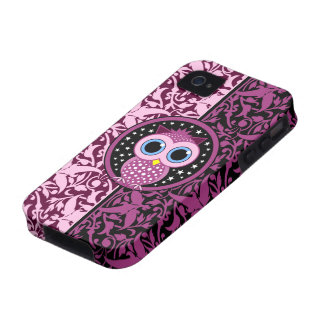 pink damask and owl iPhone 4 covers