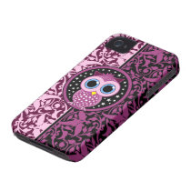 pink damask and owl Case-Mate iPhone 4 case