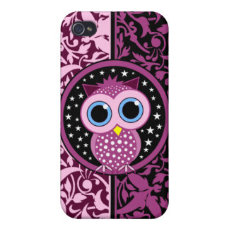 pink damask and owl iPhone 4 cover