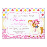 Pink Damask and Polka Dot Cowgirl Birthday Party 5x7 Paper Invitation Card