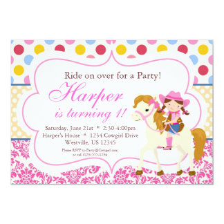 Pink Damask and Polka Dot Cowgirl Birthday Party Personalized Announcement