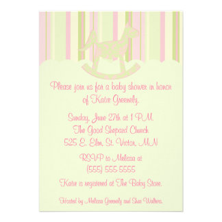 Pink Damask and Stripes baby shower invitation