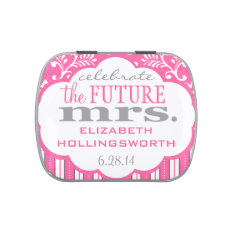 Pink Damask and Stripes Bridal Shower Guest Favor Candy Tins at Zazzle