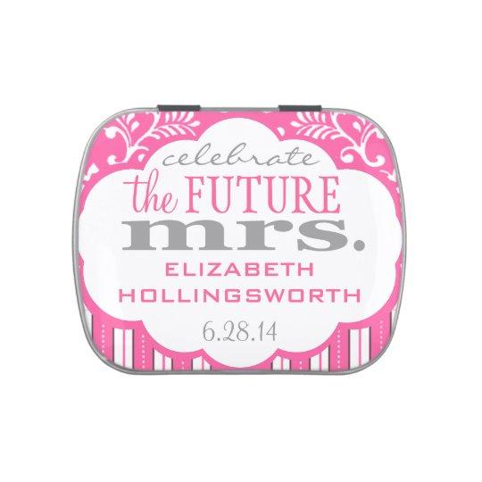 Pink Damask and Stripes Bridal Shower Guest Favor Candy Tins