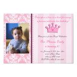 "Pink Damask And Stripes Princess Photo Invitation 5"" X 7"" Invitation Card"