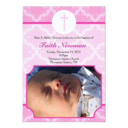 Pink Damask Baby Baptism Photo Invitation 5x7
