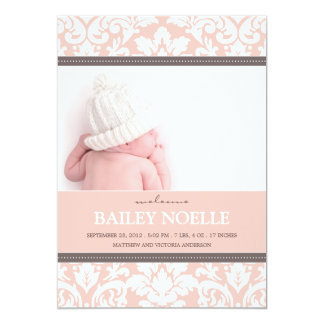 PINK DAMASK BABY | BIRTH ANNOUNCEMENT