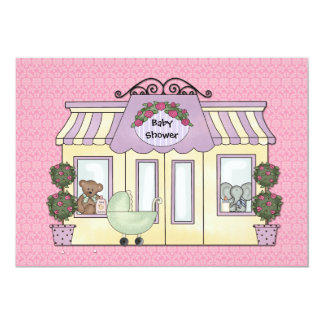 Pink Damask Baby Boutique Invitation