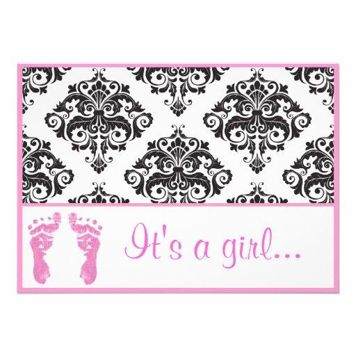 Pink Damask Baby Feet Girl Baby Shower Invitations (back side)