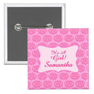 Pink Damask Baby Girl Name Personalized Birth 2 Inch Square Button