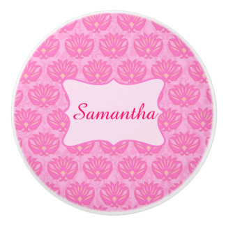 Pink Damask Baby Girl Name Personalized Birth Ceramic Knob