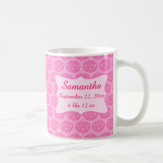 Pink Damask Baby Girl Name Personalized Birth Coffee Mug