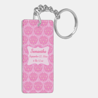Pink Damask Baby Girl Name Personalized Birth Keychain