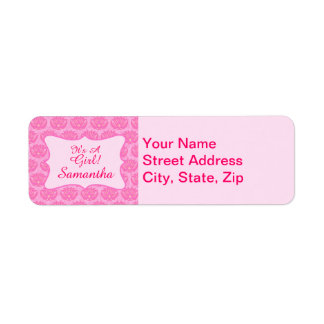 Pink Damask Baby Girl Name Personalized Birth Label