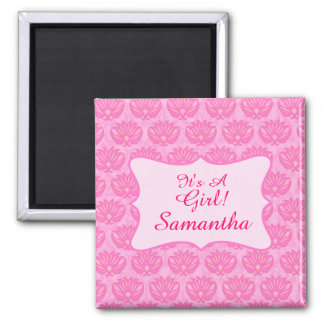 Pink Damask Baby Girl Name Personalized Birth 2 Inch Square Magnet