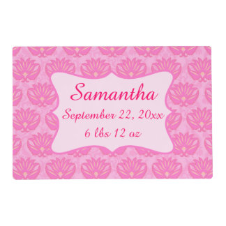 Pink Damask Baby Girl Name Personalized Birth Placemat