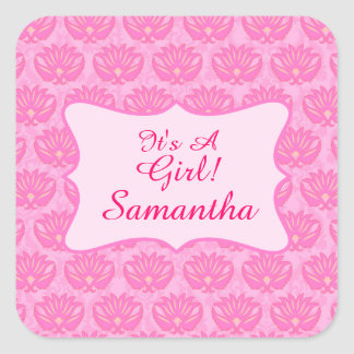 Pink Damask Baby Girl Name Personalized Birth Square Sticker