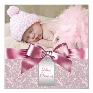 Pink Damask Baby Girl Photo Christening Card