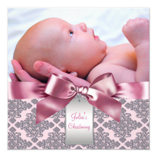 "Pink Damask Baby Girl Photo Christening 5.25"" Square Invitation Card"