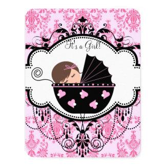 Pink Damask Baby Girl Shower Card