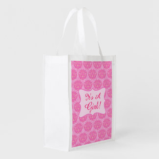 Pink Damask Baby Its a Girl Birth Annoucement Market Tote