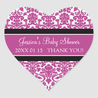 Pink Damask Baby Shower Favor Stickers