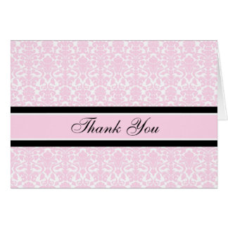 Pink Damask Baby Shower Hostess Thank You Card