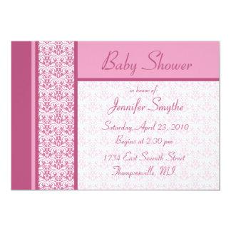 "Pink Damask Baby Shower Invitation 5"" X 7"" Invitation Card"